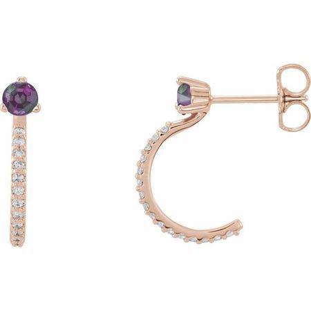 Genuine Alexandrite Earrings in 14 Karat Rose Gold Alexandrite & 1/6 Carat Diamond Hoop Earrings