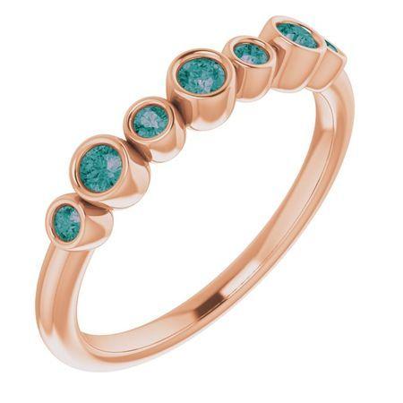 Genuine Alexandrite Ring in 14 Karat Rose Gold Alexandrite Bezel-Set Ring
