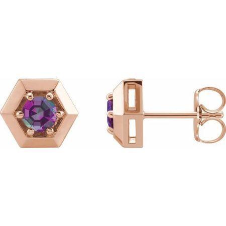 Genuine Alexandrite Earrings in 14 Karat Rose Gold Alexandrite Geometric Earrings