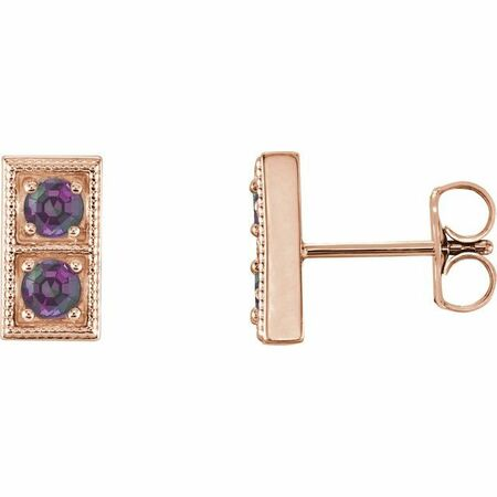 Genuine Alexandrite Earrings in 14 Karat Rose Gold AlexandriteTwo-Stone Earrings