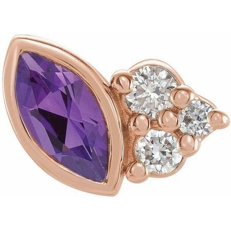 14 Karat Rose Gold Amethyst & .03 Carat Weight Diamond Left Earring