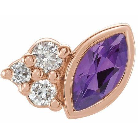 14 Karat Rose Gold Amethyst & .03 Carat Weight Diamond Right Earring