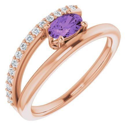 Genuine Amethyst Ring in 14 Karat Rose Gold Amethyst & .125 Carat Diamond Ring