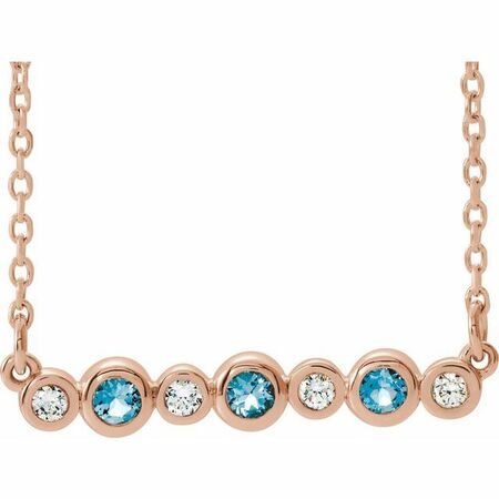 Genuine Aquamarine Necklace in 14 Karat Rose Gold Aquamarine & .08 Carat Diamond Bezel-Set Bar 16-18