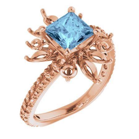 Genuine Aquamarine Ring in 14 Karat Rose Gold Aquamarine & 1 1/6 Carat Diamond Ring