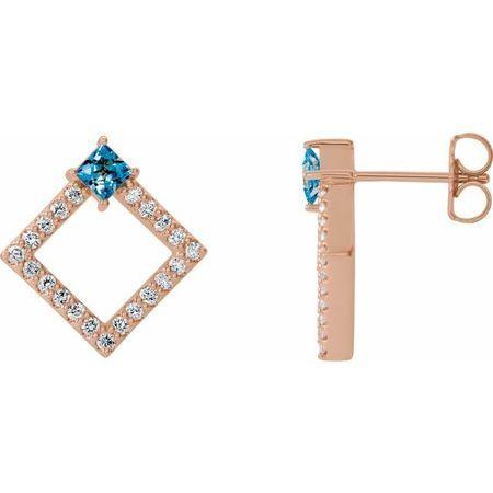 Genuine Aquamarine Earrings in 14 Karat Rose Gold Aquamarine & 1/3 Carat Diamond Earrings