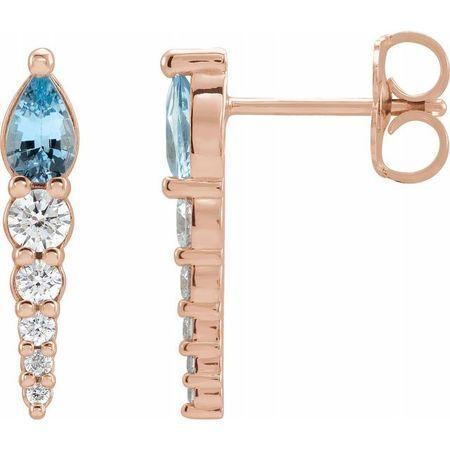 Genuine Aquamarine Earrings in 14 Karat Rose Gold Aquamarine & 1/4 Carat Diamond Earrings