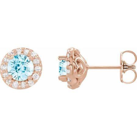 Genuine Aquamarine Earrings in 14 Karat Rose Gold Aquamarine & 1/6 Carat Diamond Earrings