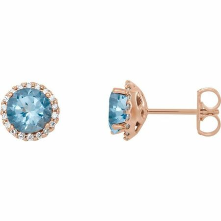 Genuine Aquamarine Earrings in 14 Karat Rose Gold Aquamarine & 1/6 Carat Diamond Earrings