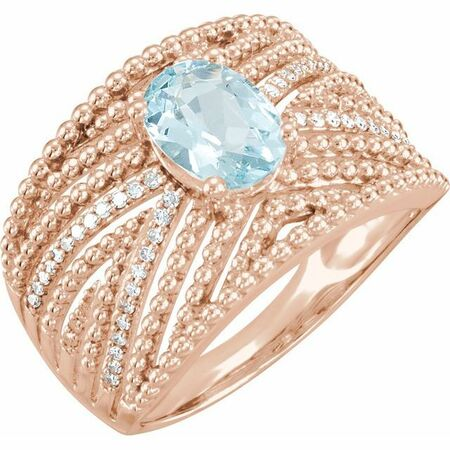 14 Karat Rose Gold Aquamarine & .17 Carat Weight Diamond Ring