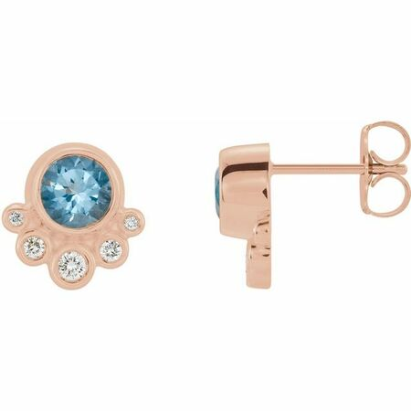 Genuine Aquamarine Earrings in 14 Karat Rose Gold Aquamarine & 1/8 Carat Diamond Earrings
