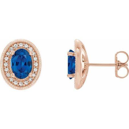 Genuine Sapphire Earrings in 14 Karat Rose Gold Genuine Sapphire & 1/5 Carat Diamond Halo-Style Earrings