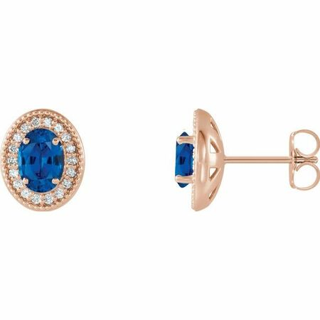Genuine Sapphire Earrings in 14 Karat Rose Gold Genuine Sapphire & 1/5 Carat Diamond Halo-Style Earrings