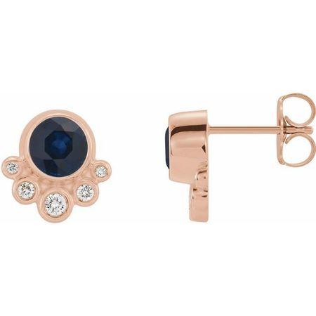 Genuine Sapphire Earrings in 14 Karat Rose Gold Genuine Sapphire & 1/8 Carat Diamond Earrings