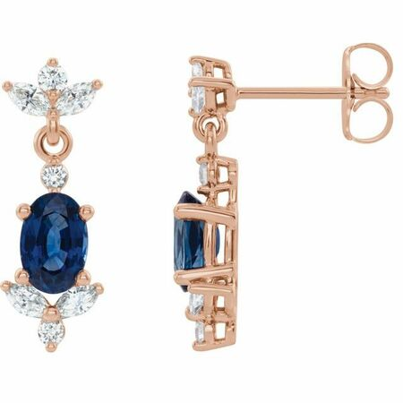 Genuine Sapphire Earrings in 14 Karat Rose Gold Genuine Sapphire & 3/8 Carat Diamond Earrings