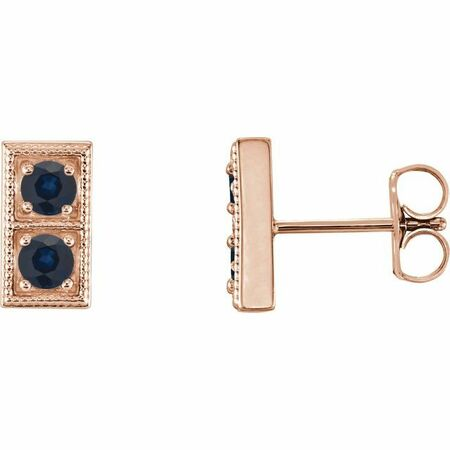 Genuine Sapphire Earrings in 14 Karat Rose Gold Genuine SapphireTwo-Stone Earrings