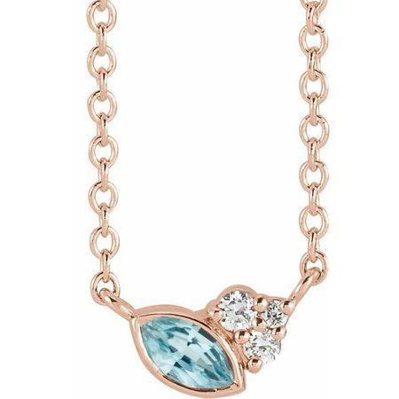 Genuine Zircon Necklace in 14 Karat Rose Gold Genuine Zircon & .03 Carat Diamond 18
