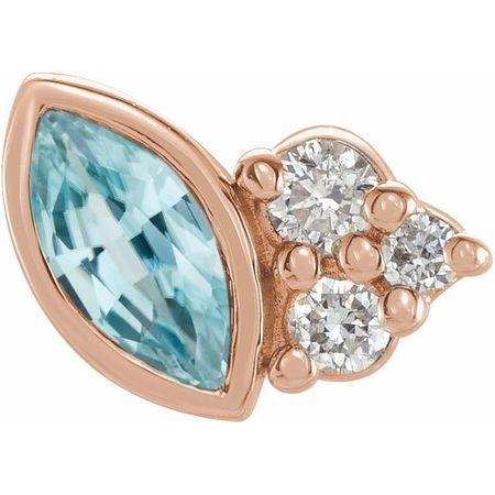 14 Karat Rose Gold Blue Zircon & .03 Carat Weight Diamond Left Earring