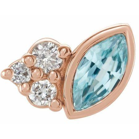 14 Karat Rose Gold Blue Zircon & .03 Carat Weight Diamond Right Earring