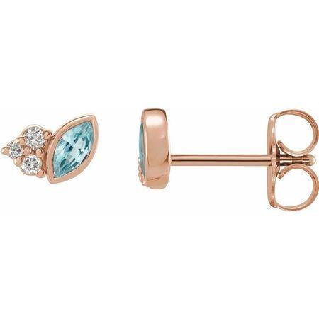 Genuine Zircon Earrings in 14 Karat Rose Gold Genuine Zircon & .05 Carat Diamond Earrings