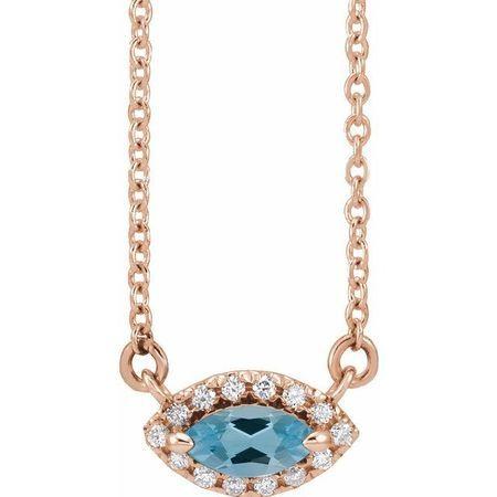 Genuine Zircon Necklace in 14 Karat Rose Gold Genuine Zircon & .05 Carat Diamond Halo-Style 16