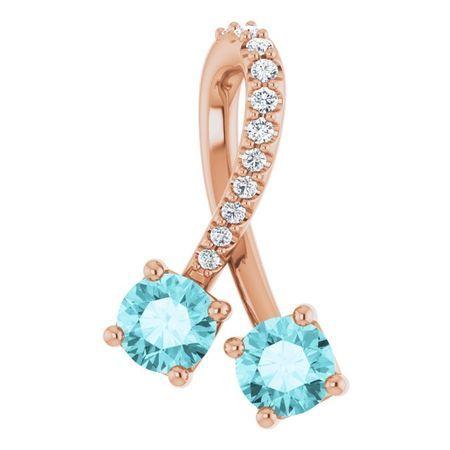 Genuine Zircon Pendant in 14 Karat Rose Gold Genuine Zircon & .05 Carat Diamond Pendant