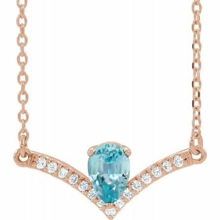 Genuine Zircon Necklace in 14 Karat Rose Gold Genuine Zircon & .06 Carat Diamond 16