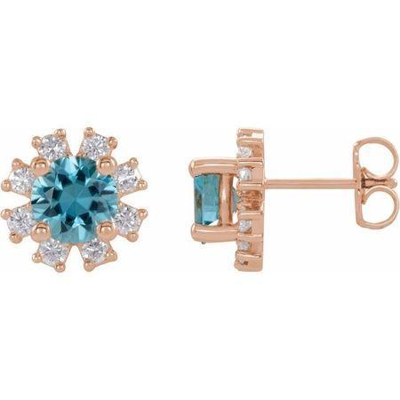 Genuine Zircon Earrings in 14 Karat Rose Gold Genuine Zircon & .07 Carat Diamond Earrings
