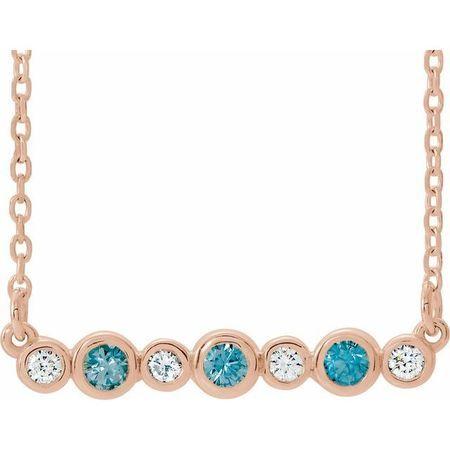 Genuine Zircon Necklace in 14 Karat Rose Gold Genuine Zircon & .08 Carat Diamond Bezel-Set Bar 16-18