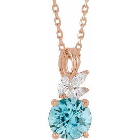 Genuine Zircon Necklace in 14 Karat Rose Gold Genuine Zircon & 1/10 Carat Diamond 16-18