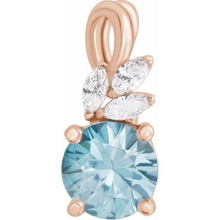 Genuine Zircon Pendant in 14 Karat Rose Gold Genuine Zircon & 1/10 Carat Diamond Pendant