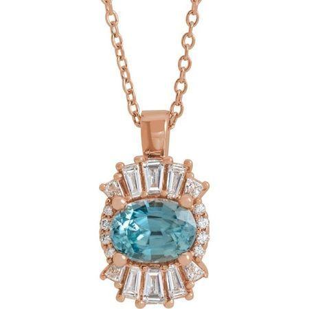 Genuine Zircon Necklace in 14 Karat Rose Gold Genuine Zircon & 1/3 Carat Diamond 16-18