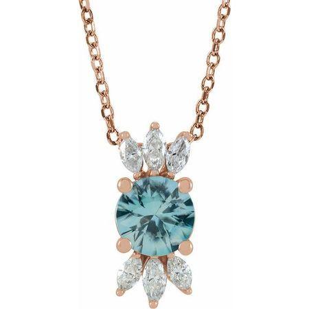 Genuine Zircon Necklace in 14 Karat Rose Gold Genuine Zircon & 1/4 Carat Diamond 16-18