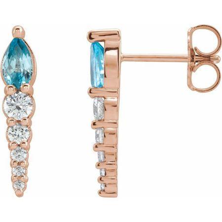 Genuine Zircon Earrings in 14 Karat Rose Gold Genuine Zircon & 1/4 Carat Diamond Earrings
