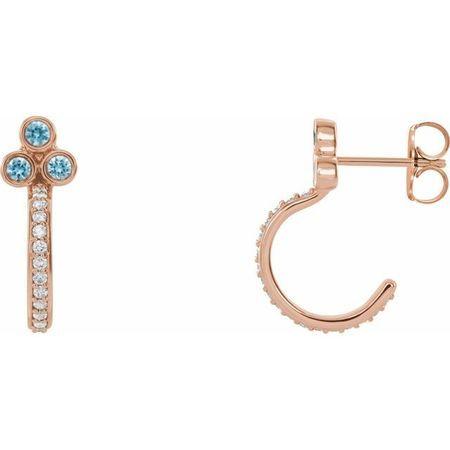 Genuine Zircon Earrings in 14 Karat Rose Gold Genuine Zircon & 1/4 Carat Diamond J-Hoop Earrings