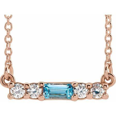 Genuine Zircon Necklace in 14 Karat Rose Gold Genuine Zircon & 1/5 Carat Diamond 16