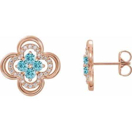 Genuine Zircon Earrings in 14 Karat Rose Gold Genuine Zircon & 1/5 Carat Diamond Clover Earrings