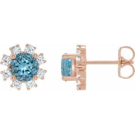 Genuine Zircon Earrings in 14 Karat Rose Gold Genuine Zircon & 1/5 Carat Diamond Earrings