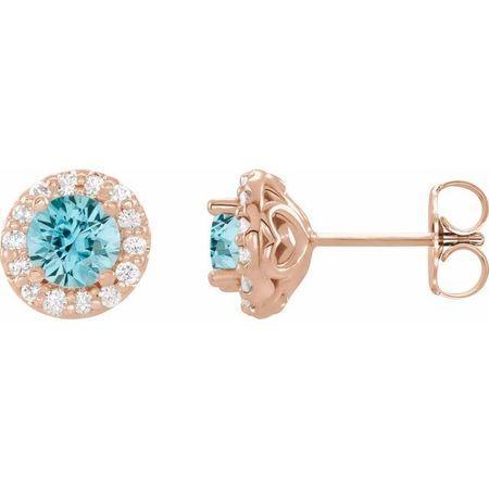 Genuine Zircon Earrings in 14 Karat Rose Gold Genuine Zircon & 1/6 Carat Diamond Earrings