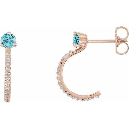 Genuine Zircon Earrings in 14 Karat Rose Gold Genuine Zircon & 1/6 Carat Diamond Hoop Earrings