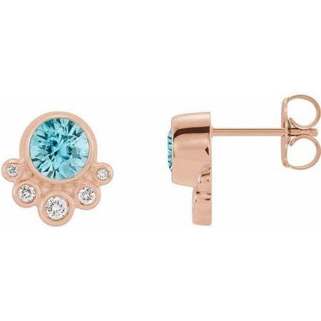 Genuine Zircon Earrings in 14 Karat Rose Gold Genuine Zircon & 1/8 Carat Diamond Earrings