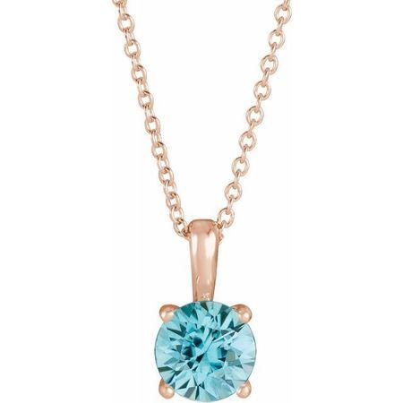 Genuine Zircon Necklace in 14 Karat Rose Gold Genuine Zircon 16-18