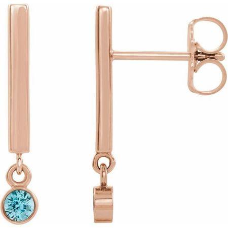 Genuine Zircon Earrings in 14 Karat Rose Gold Genuine Zircon Bar Earrings