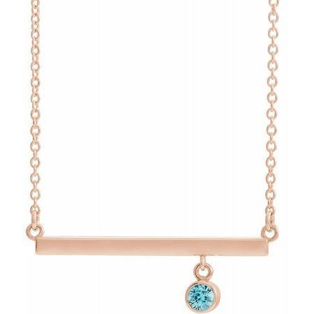 Genuine Zircon Necklace in 14 Karat Rose Gold Genuine Zircon Bezel-Set 18