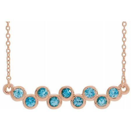 Genuine Zircon Necklace in 14 Karat Rose Gold Genuine Zircon Bezel-Set Bar 16-18
