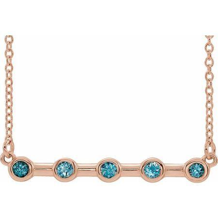 Genuine Zircon Necklace in 14 Karat Rose Gold Genuine Zircon Bezel-Set Bar 16