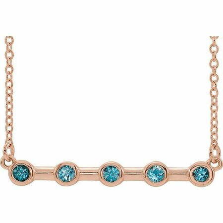 Genuine Zircon Necklace in 14 Karat Rose Gold Genuine Zircon Bezel-Set Bar 18