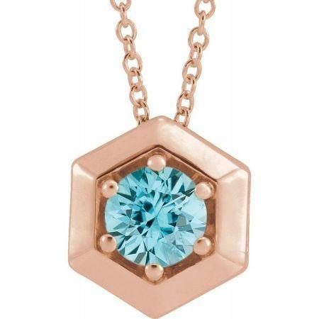 Genuine Zircon Necklace in 14 Karat Rose Gold Genuine Zircon Geometric 16-18