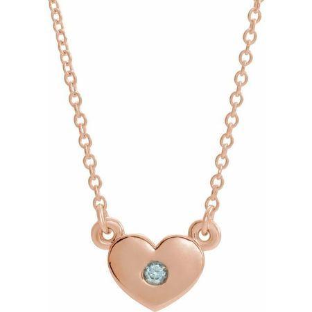 Genuine Zircon Necklace in 14 Karat Rose Gold Genuine Zircon Heart 16