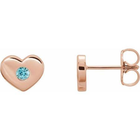 Genuine Zircon Earrings in 14 Karat Rose Gold Genuine Zircon Heart Earrings